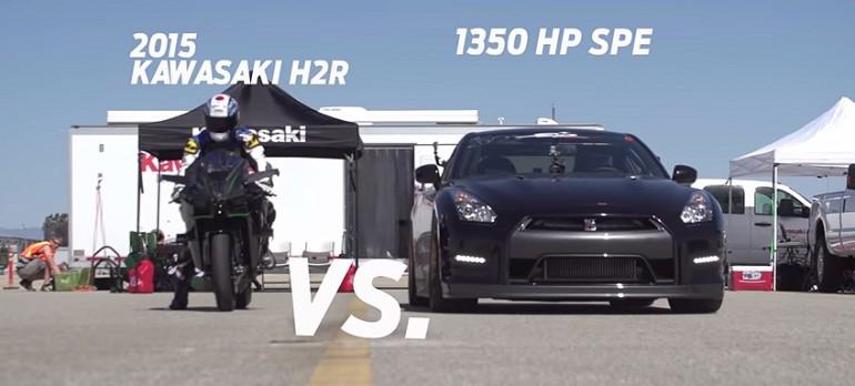 Wyścig na 0,5 mili: Kawasaki Ninja H2R kontra Nissan GT-R