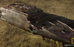 Zatopiony Titanic. Prędkość uderzenia o dno morskie.