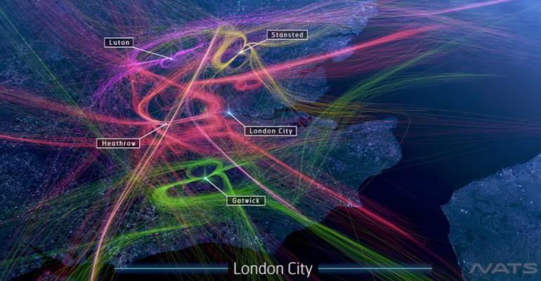 Niesamowita animacja ruchu lotniczego nad Londynem