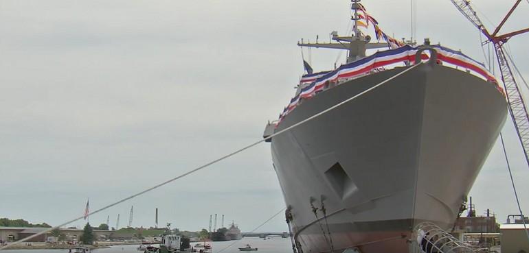 Wodowanie krążownika USS Little Rock (LCS-9)