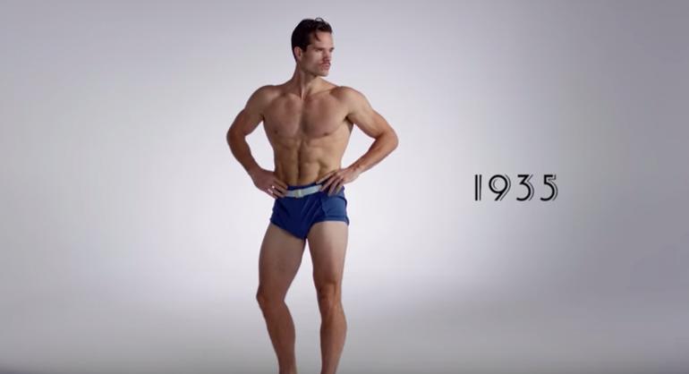Jak zmieniła się moda plażowa męska przez 100 lat w 3 minuty.