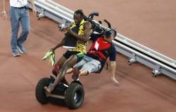 Usain Bolt wygrał wyścig na 200 m ale seagway ścią go z nóg