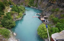 Extremalne skoki na bungee. Klif Shenanigans. Nowa Zelandia