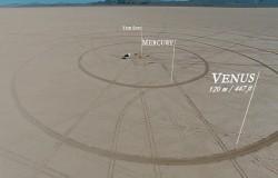 Model Układu Słonecznego na pustyni w Nevadzie