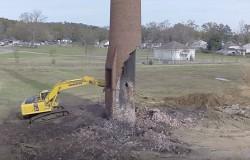 Szalony pomysł niszczenie komina o wysokość 158 metrów
