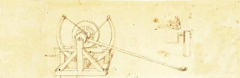 Mini katapulta z planu Leonarda da Vinci